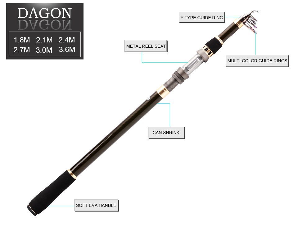 SeaKnight DAGON Telescopic Fishing Rod 1.8M 2.1M 2.4M 2.7M 3.0M 3.6M 98% Carbon Fiber Rod Travel Rod 30-50g Carp Fishing Pole 8