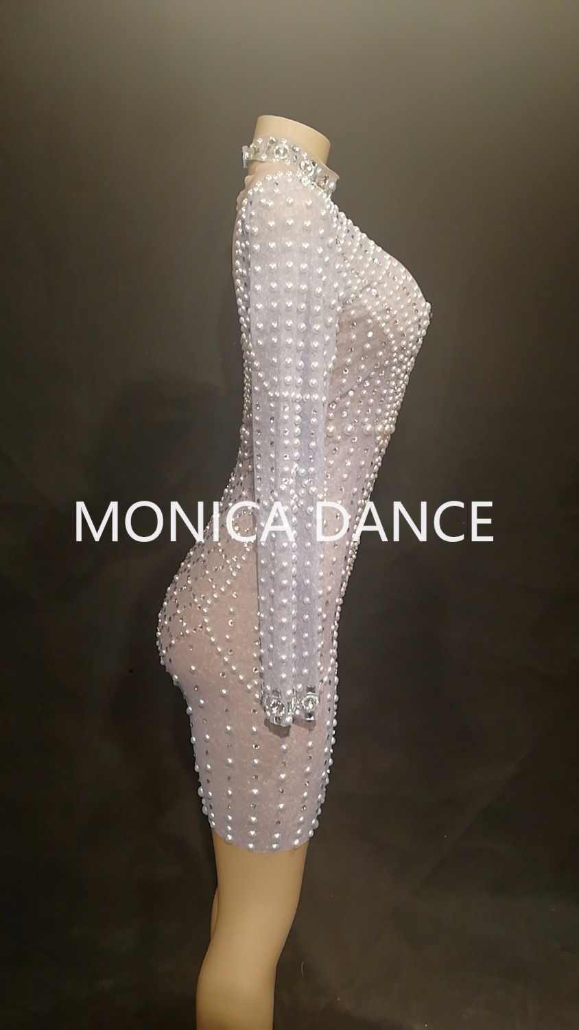 620778e836 Women Sexy Stage Net Yarn Short Dress Full Bling Pearls Silver Sparkling  Crystals Nightclub Party Stage Wear Dancer Singer Dress