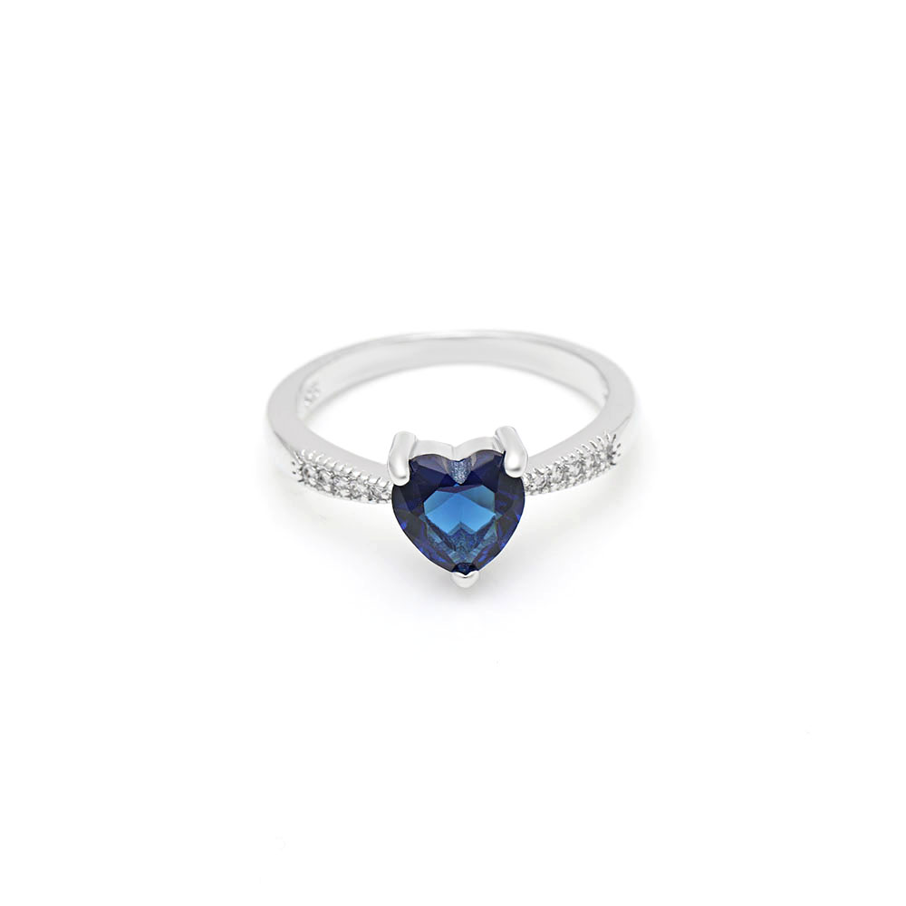 Hainon Fashion Women Wedding Engagement Jewelry Silver color Filled Blue Zircon Promise Rings Charming Heart Ring
