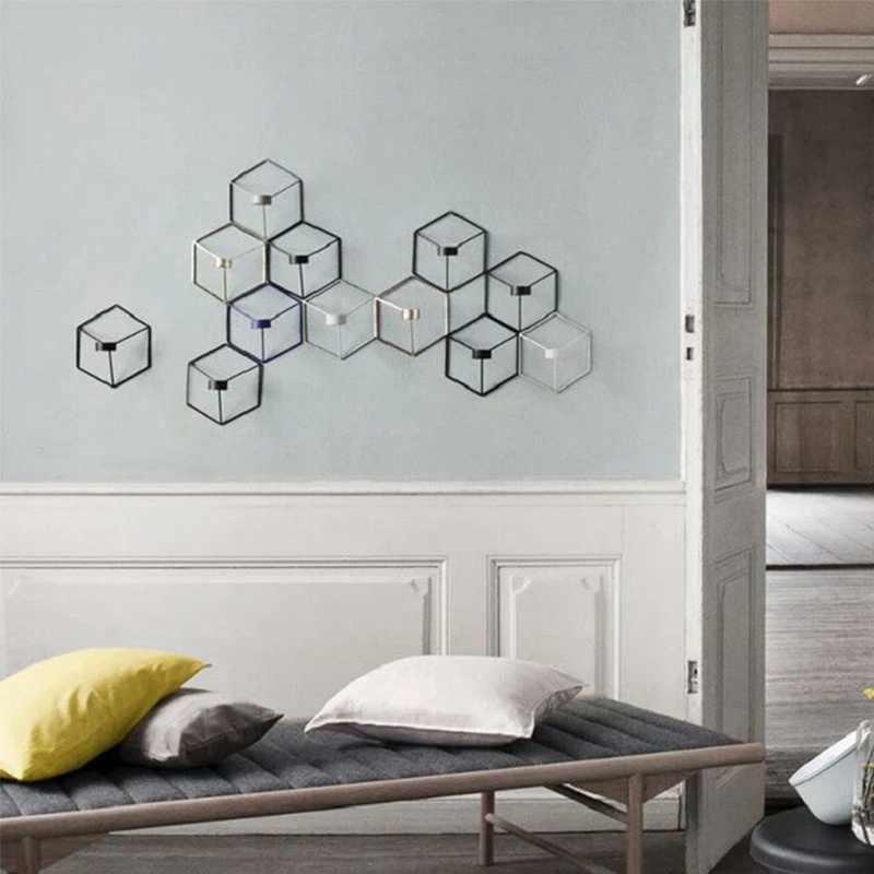 21 см Металлический Настенный Подсвечник подсвечники в скандинавском стиле 3D геометрический подсвечник бра соответствующие маленькие подсвечники домашний декор