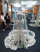 Real Sexy See Through Lace Applique Wedding Dress Vestido De Noiva Ivory O-neck Flowers Bridal Dress Court Train Casamento RW180