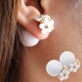 2017 nueva flor de la perla simulada Pendientes de luz lindo corea dos bolas Joyería de Doble cara Pendiente Del Perno Prisionero del caramelo romántico al por mayor
