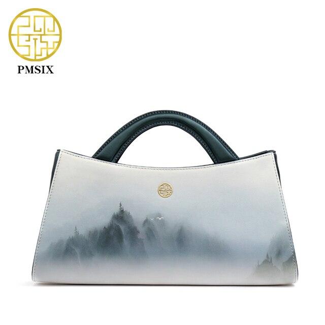 PMSIX 2017 Пейзажи Печати Натуральная Кожа Женщин Сумки Сумки Моды Сумка Красивые сумки 120115