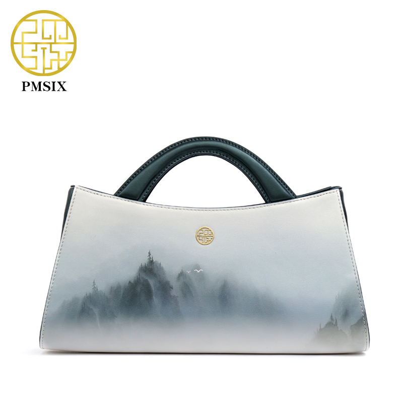 PMSIX 2017 Landscapes Printing Original Leather Women Bags Designer Handbags Fas