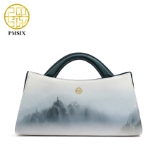 PMSIX 2017 Landscapes Printing Original Leather Women Bags Designer Handbags Fashion Shoulder Bag Beautiful Tote bags 120115