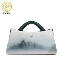 Pmsix 2017 paisajes de impresión original de cuero de las mujeres bolsos de diseñador de bolsos de moda del bolso de hombro hermoso bolsas de mano 120115