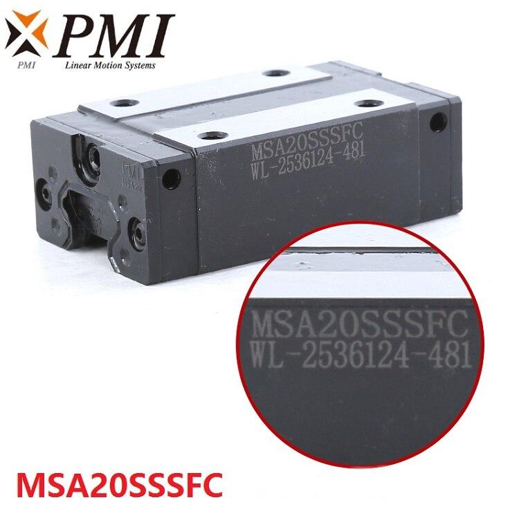 4pcs Original Taiwan PMI MSA20S MSA20SSSFC N linear guideway slide block Carriage for CO2 laser machine
