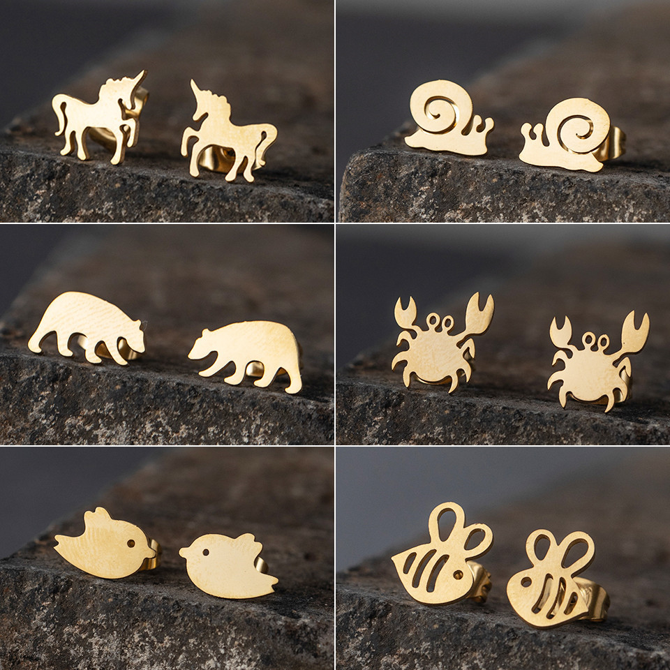 Cute Goldne Silver Colour Stainless Steel Stud Earrings For Women Fashion Charm Jewelry Dog Claw Crab Bird Bear Snails Elephant