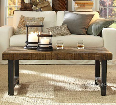 Loft american country wrought iron coffee table vintage for Wrought iron living room furniture