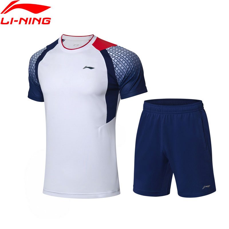 Li Ning Men Competition Badminton Suits T shirt Shorts Set Breathable AT DRY Comfort LiNing Sports