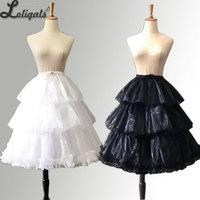 Black/White Adjustable Lolita Petticoat A line Ruffled Cosplay Under Skirt