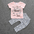 High quality 2pcs/set baby girls lovely pink alphabet printing cotton T-shirt+ Leopard pants Baby casual comfortable clothes