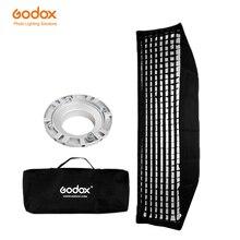 "Godox 12 ""x 47"" 30x120cm bande nid dabeille grille rectangulaire Softbox pour Photo stroboscope Studio Flash Softbox Bowens Mount"