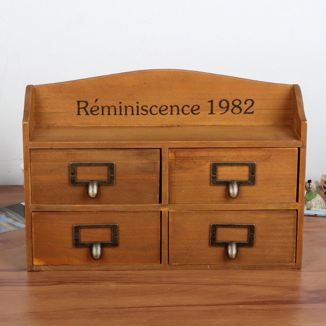 Superb Vintage Daily Necessities Drawer Storage Boxes Fashion Candy/Jewelry  Container Wooden Table Sundries Organizer Decorative
