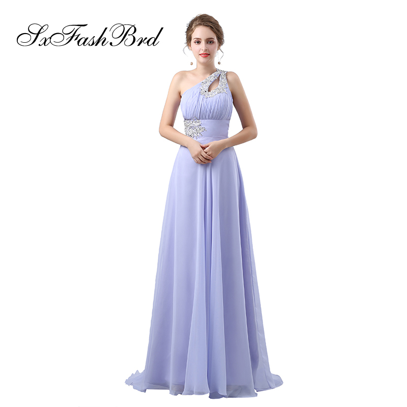 Robe Longue One Shoulder With Beading A Line Chiffon Long Formal Elegant   Dresses   for Women Evening Party   Prom     Dress