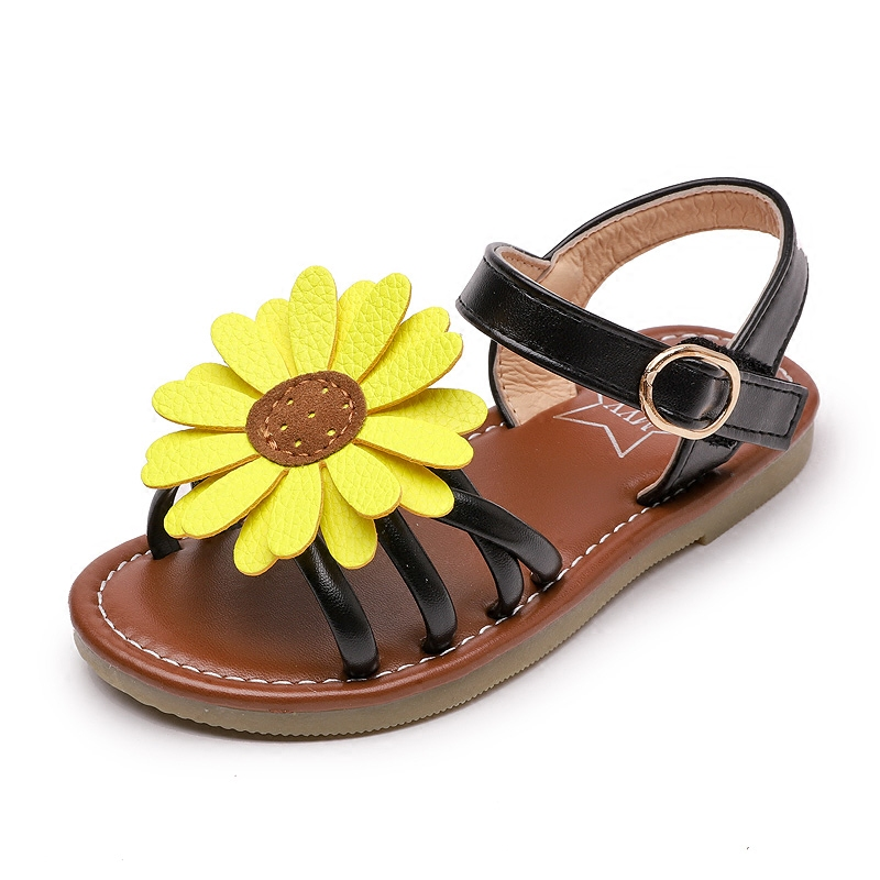 Sun flower girl sandals 2019 summer new fashion slip childrens beach shoes sweet flat Princess shoes tide size 26-36Sun flower girl sandals 2019 summer new fashion slip childrens beach shoes sweet flat Princess shoes tide size 26-36