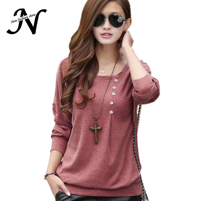 New Fashion 2017 Shirt Women Casual Loose Autumn Tops And Blouses O Neck Long Batwing Sleeve Button Solid Blouse Women Clothing