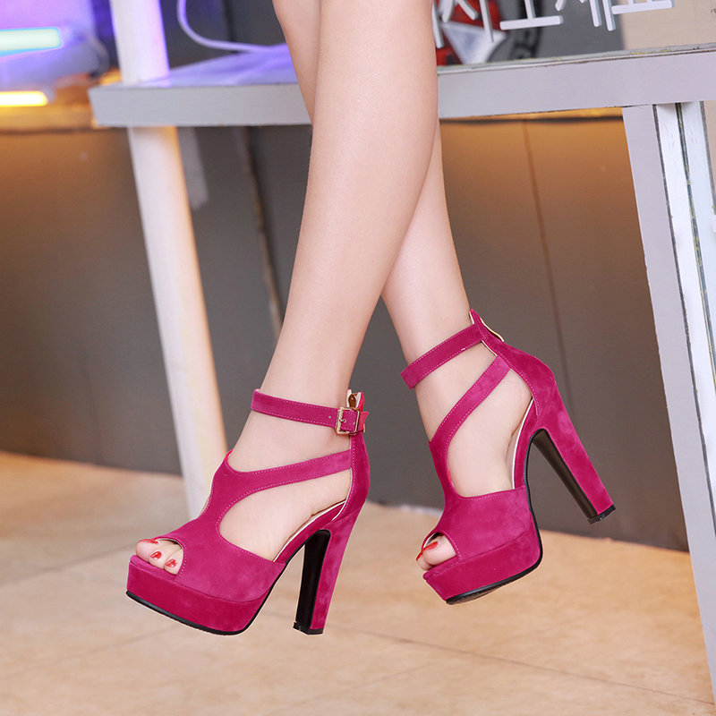QUTAA 2017 Women Pumps Summer Black Ladies Shoe Square High Heel Peep Toe PU Leather Zipper Woman Wedding Shoes Size 34-43 21