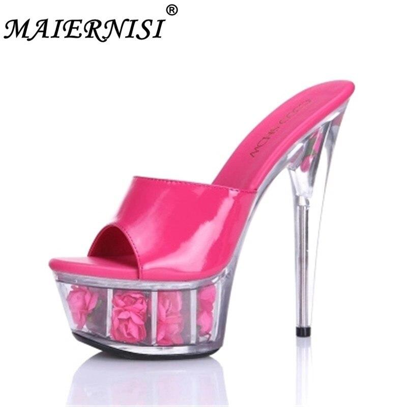 Hauts PlusTaille Sexy rose Chaussures À Sandales Discothèque 44 Diapositives Cm Noir forme Talons 34 Plate Mariage rouge Rose Femme 15 blanc Rouge De D'été rose 34A5RLj