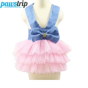 pawstrip Fashion Jean Pet Tutu Skirt Bow Puppy Dog Dress Summer Small Dog Clothes XS-XXL 1