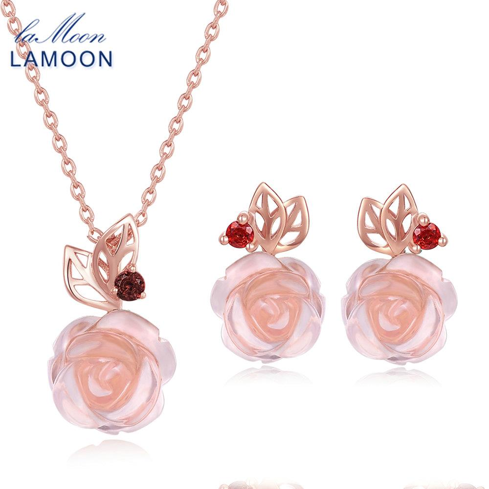 LAMOON FlowerRose Natural Pink Rose Quartz made with 925 Sterling Silver Jewelry Jewelry Set V033-2 lamoon flowerrose natural pink rose quartz made with 925 sterling silver jewelry jewelry set v033 2