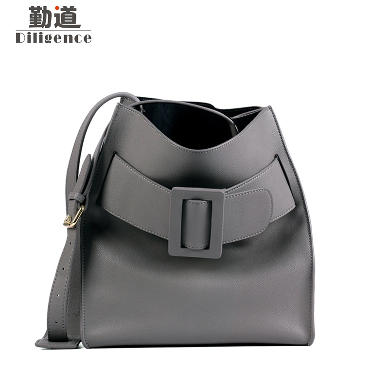 Genuine Cowhide Leather Bucket Bags Fashion Famous Luxury Brands Designer Style Handbags 2018 New Shoulder Bag fashion leather handbags luxury head layer cowhide leather handbags women shoulder messenger bags bucket bag lady new style