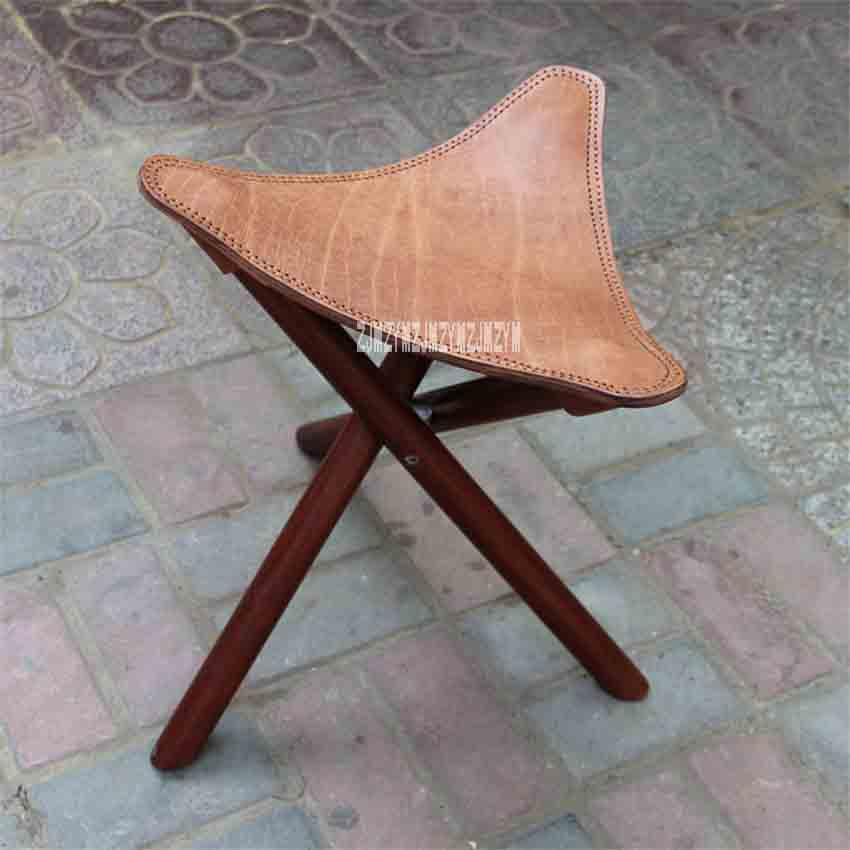 Nouveau tabouret pliant en bois d'orme massif à trois pieds Portable siège en cuir meubles de salon tabouret trépied en bois pour extérieur/intérieur