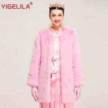 YIGELILA Latest Winter Fashion Slim Pink O-neck Open Stitch Pink Faux Fox Fur Coat Women 94810