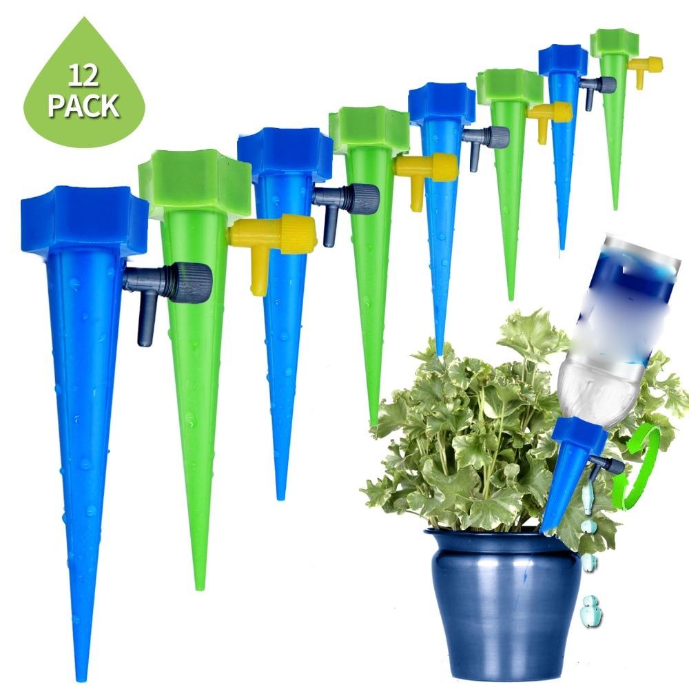 12 Pz/lotto Giardino Irrigazione A Goccia Auto Cono Innaffiatura Infiltrazioni Spike Pianta Valvola Waterers Bottiglia Di Irrigazione Regolabile Sprinkler