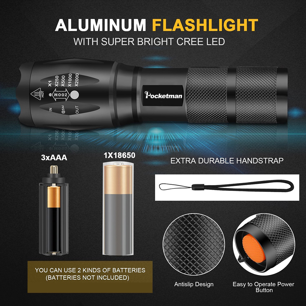 Ultra Bright  8000 LM Led flashlight linterna led torch T6/L2/V6 5 Switch Modes Zoomable Bicycle Light use 18650 battery Pakistan