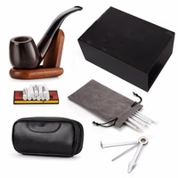 New 1 set Ebony Smoking Pipe with 10 Filter Element + Scraper + High Grade Pipe Pouches+10 pipe cleaners Accessories (wooden)