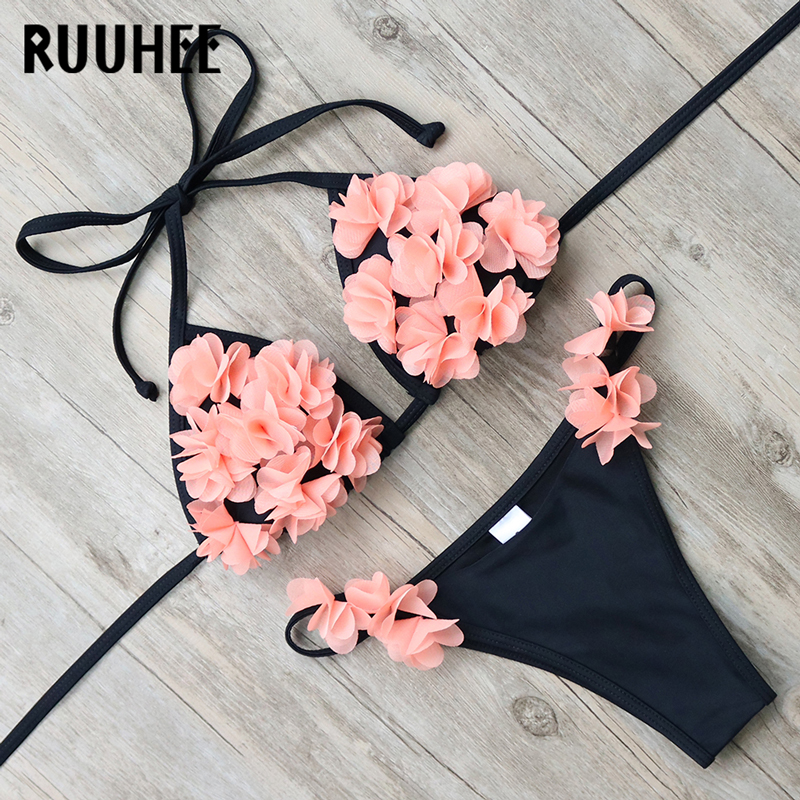RUUHEE Bikini Swimwear Swimsuit Women 3D Floral Sexy Bikini Set Bathing Suit Push Up Beach Wear Maillot De Bain Femme Biquini
