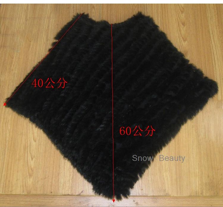 natural real knitted rabbit fur poncho shawl (1)