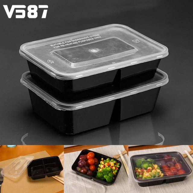 10Pcs 500ml Meal Prep Containers Set Plastic Food Storage Reusable Lunch  Box Microwave Oven Applicable Dinnerware