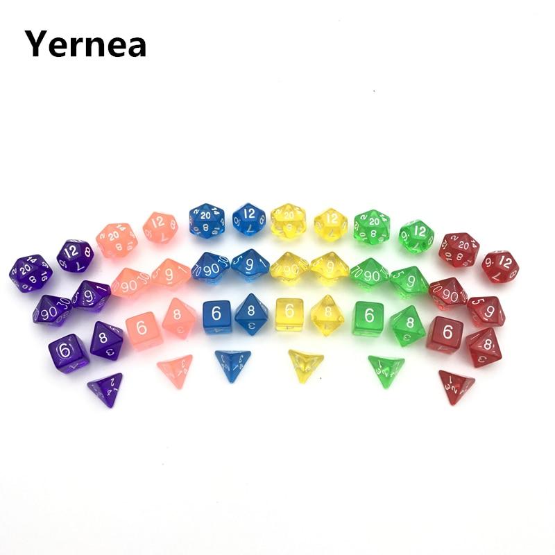 Yernea 7Pcs Set High-quality Multiaspect Dice Multi Color Transparent Acrylic Dice D4 D6 D8 D10 D10% D12 D20 RPG Dice