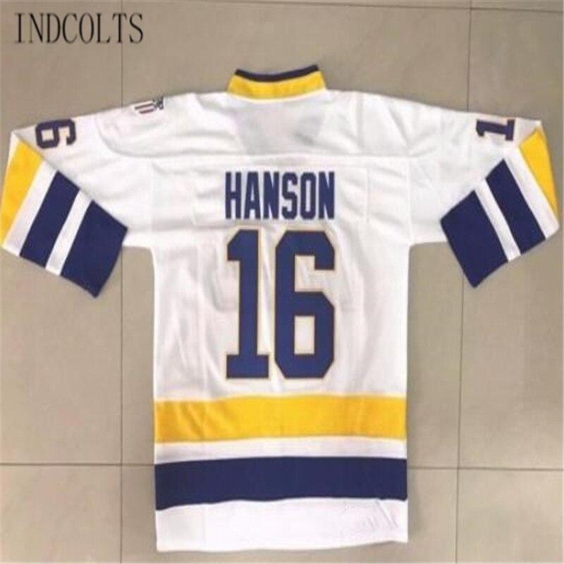 Indcolts Hanson братья Charlestown РУКОВОДСТВО #16 воротам фильм Для Мужчинs Хоккей Джерси Белый