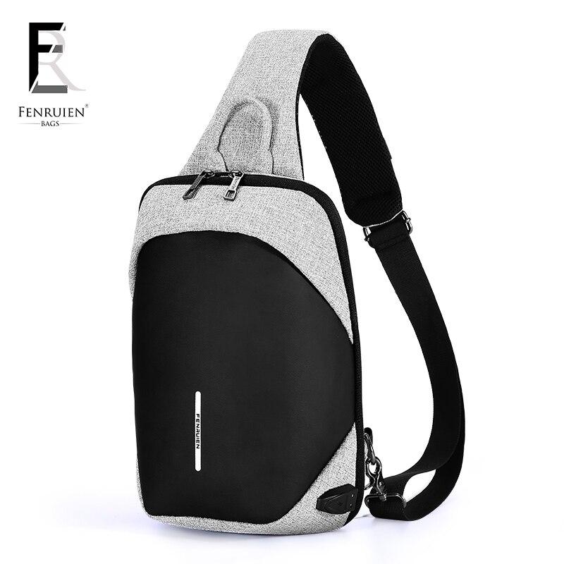 FRN Fashion Chest Pack Men Casual Shoulder Crossbody Bag USB Charging Chest Bag Water Repellent Travel Messenger Bag Male