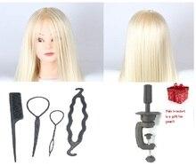 CAMMITEVER 20 '' cabeza del maniquí del pelo de oro con 4 herramientas de regalos para pelucas formación cabeza del maniquí peluquería titular de la peluquería
