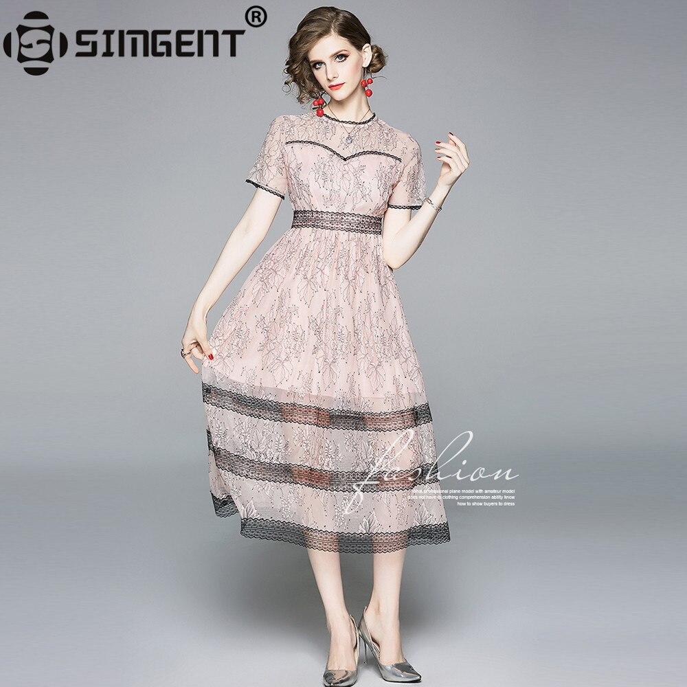 Simgent New Fashion Summer Short Sleeve Slim Elegant Flare Lace Dress Long Woman Clothes Pink Robe Dentelle Vestidos SG9615