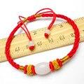 Ubeauty Wholesale 50 unids/lote Seda Roja Tejer Pulseras de Cuentas de Jade lucky cordones cuerda cuerda de cáñamo trenzado pulsera ajustable
