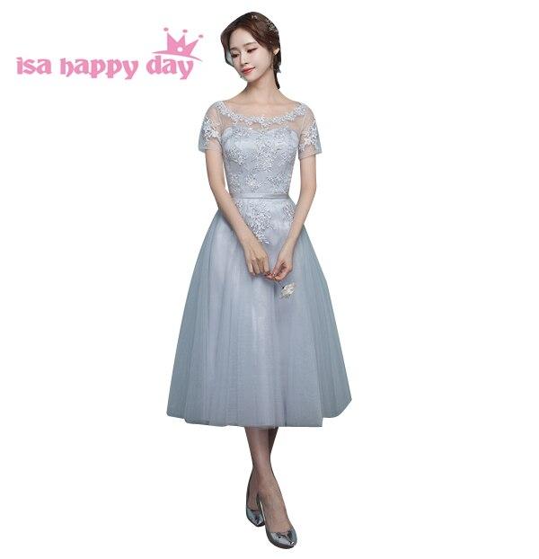 Lace Short Princess Bridesmaid Grade 8 Grey Tea Dress Bridemaids Dresses Bridesmaids Clothes Girls For Wedding Guests B3932
