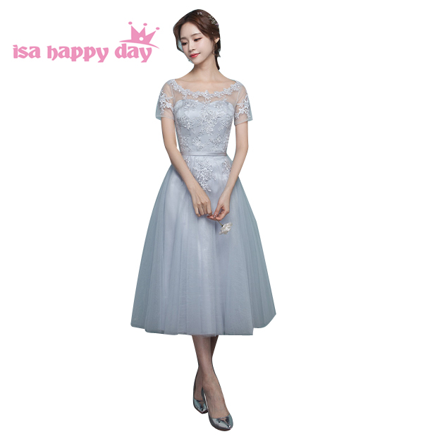 b07e266a7da4 lace short princess bridesmaid grade 8 grey tea dress bridemaids dresses  bridesmaids clothes girls for wedding guests B3932