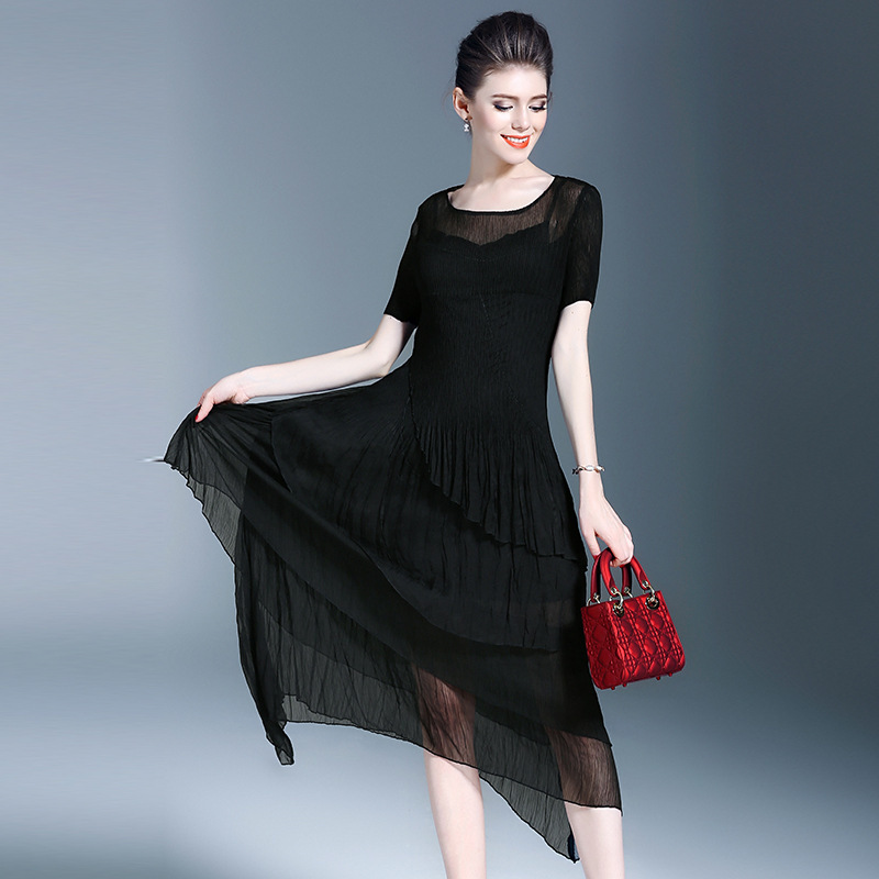 LANMREM 2019 Spring Summer New Pleated Patchwork Dress For Women Round Neck Short Sleeve Fashion Women
