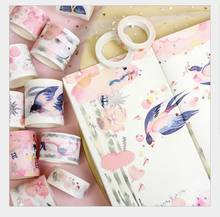 Hot silver pink flower rain/silk ribbon/princess dream/swallow feather washi Tape DIY planner scrapbooking masking tape escolar(China)