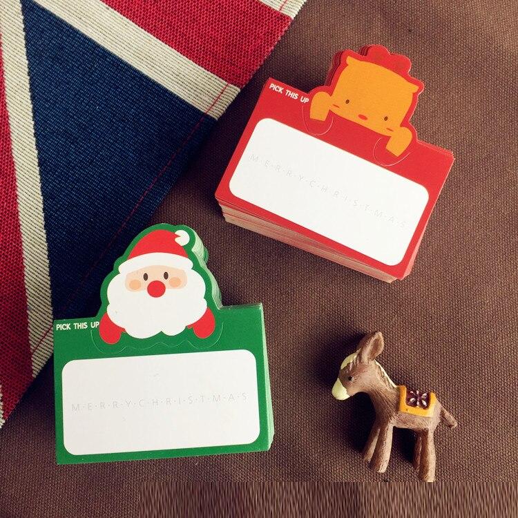 50 Stücke Weihnachten Mini Schreiben Karte Weihnachtsmann Deer Lassen  Nachricht Karten Lucky Love Valentinstag Weihnachten Party Einladung Brief  In 50 ...