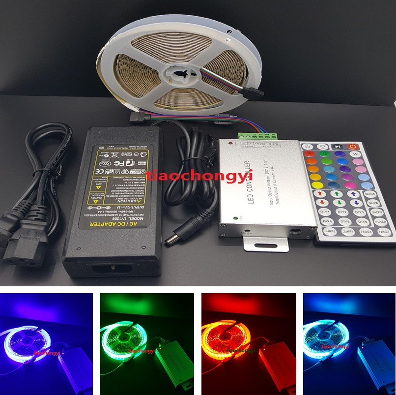 5M 5050 RGB 600LED LED Strip light non waterproof DC12V + 24A 44key IR Remote Controller +8A 12V Power adda ad7512hb 7530 dc12v 0 24a