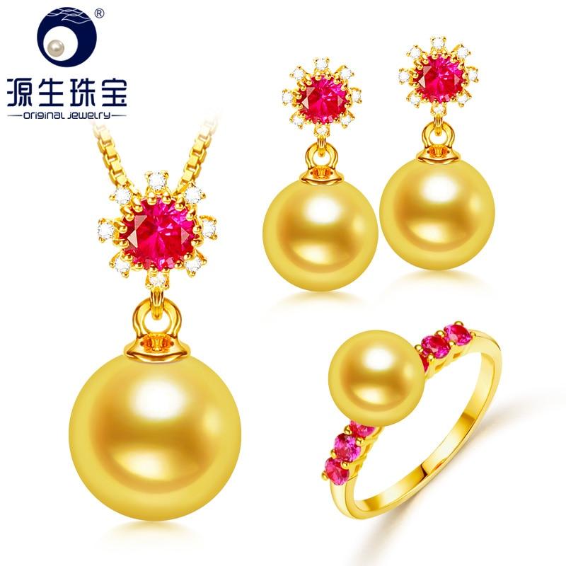 [YS] Fine Jewelry 2017 New Arrived 8-8.5mm Akoya Pearl 18k Gold Pendants, Ring & Studs Earrings Pearl Jewelry Set For Women украшение на шею mikimoto 8 8 5mm akoya 18k