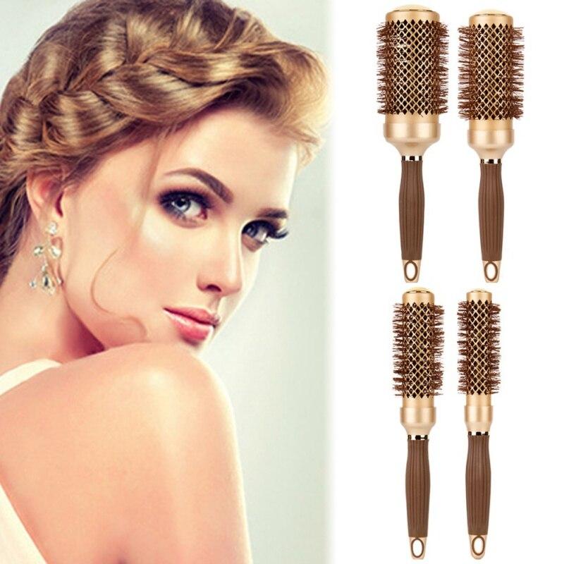 Women Hair Dressing Brushes High Temperature Resistant Ceramic Iron Round Comb Makeup Tool