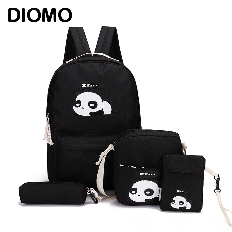 DIOMO Panda Bag Female Canvas School Backpack Set For Boys With Girls Teenagers Laptop Bagpack Women Crossbody Pencil Case Child