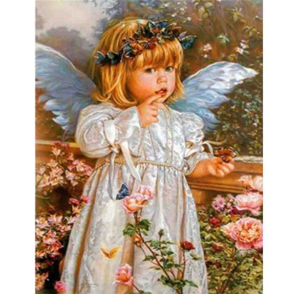 RIHE Little Angel Girl kiss kid DIY Oil Painting By Numbers Home Decor Canvas Modern Wall Art living room Acrylic Paint